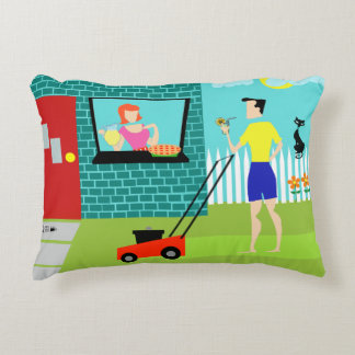 Retro Saturday Morning Accent Pillow