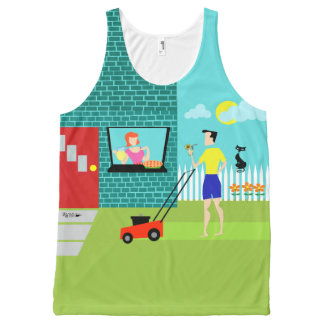 Retro Saturday Morning All-Over Printed Tank Top All-Over Print Tank Top