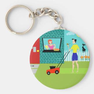 Retro Saturday Morning Button Keychain
