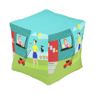Retro Saturday Morning Cube Pouf