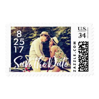 Retro Save the Date Photo Postage Stamp