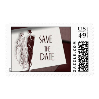 Retro save the date postage stamp