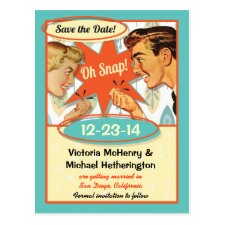 Retro Save the date Postcard