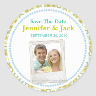 Retro Save the date Sticker with photo
