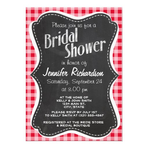 Retro Scarlet Red Gingham; Chalkboard look Personalized Announcement