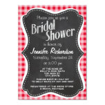 Retro Scarlet Red Gingham; Chalkboard look 4.5x6.25 Paper Invitation Card