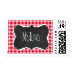 Retro Scarlet Red Gingham; Chalkboard look Postage Stamp