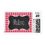 Retro Scarlet Red Gingham; Chalkboard look Postage Stamps