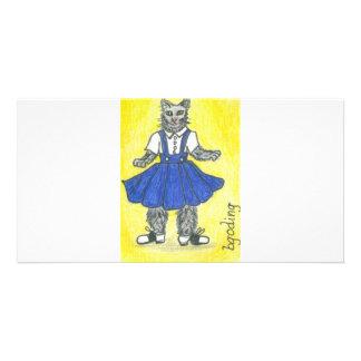 Retro school girl custom photo card