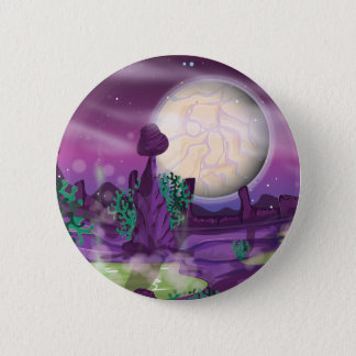 Retro Sci-Fi Alien Planet Pinback Button