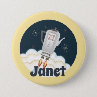 Retro sci-fi coffee pot rocket name badge pinback button