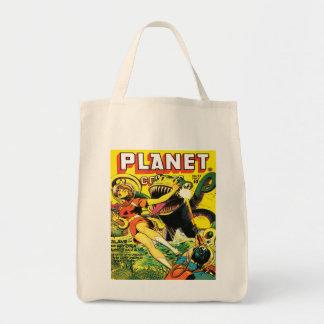 RETRO SCI FI COMICS DESIGN Grocery Tote Bag