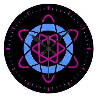 Retro Sci-Fi Geek Atom Symbol Round Clock [Black]