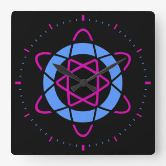 Retro Sci-Fi Geek Atom Symbol Square Clock [Black]