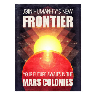 Retro Sci-Fi Mars Colonization Postcard