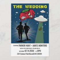 Retro Sci Fi Poster Gay Wedding Invitation
