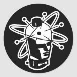Retro Sci-Fi Robot Head - Black & White Classic Round Sticker