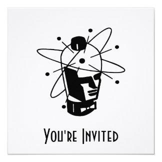 Retro Sci-Fi Robot Head - Black & White 5.25x5.25 Square Paper Invitation Card