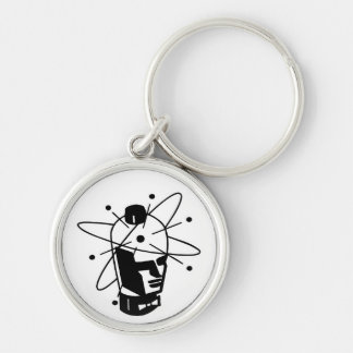 Retro Sci-Fi Robot Head - Black & White Keychain
