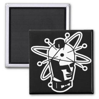 Retro Sci-Fi Robot Head - Black & White Magnet