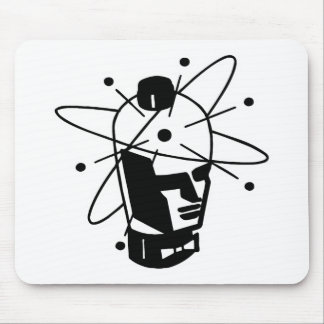 Retro Sci-Fi Robot Head - Black & White Mouse Pad