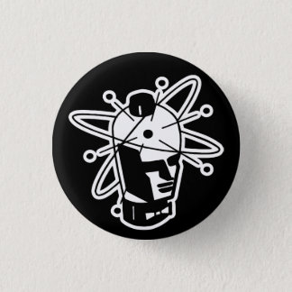 Retro Sci-Fi Robot Head - Black & White Pinback Button