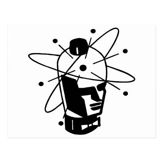 Retro Sci-Fi Robot Head - Black & White Postcard