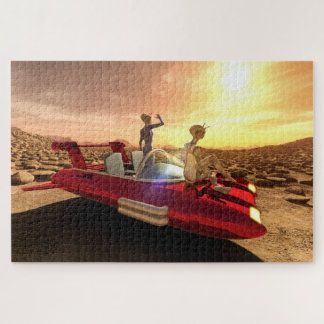 Retro Sci-Fi Sunset on Mars Jigsaw Puzzle