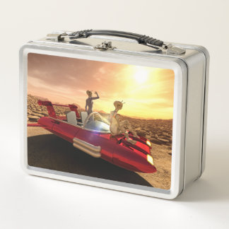 Retro Sci-Fi Sunset on Mars Metal Lunch Box
