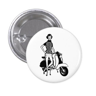 Retro Scooter Girl Pinback Button