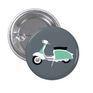 Retro Scooter Round Button Badge by Rupert & Poppy