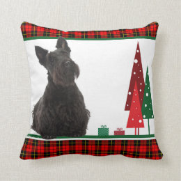 Retro Scottie Christmas Pillow