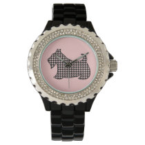 Retro Scottish Terrier Women's Pink Watch Gift