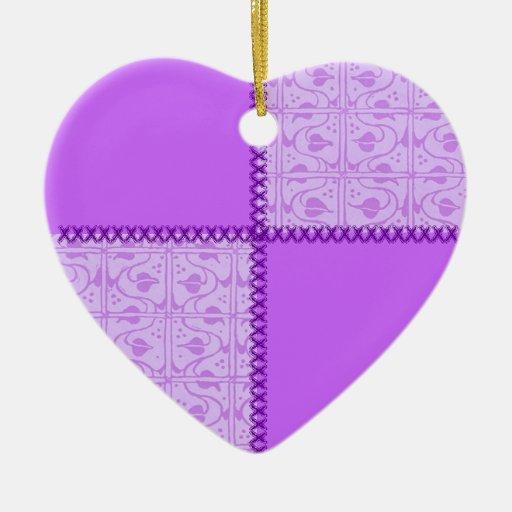 Retro Scrap Patchwork Lavender Heart Ornament