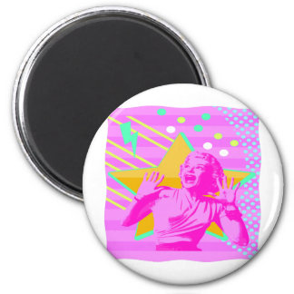 Retro Screaming Girl 2 Inch Round Magnet