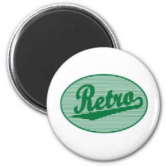 Retro script logo in green 2 inch round magnet