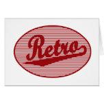 Retro script logo in red greeting card