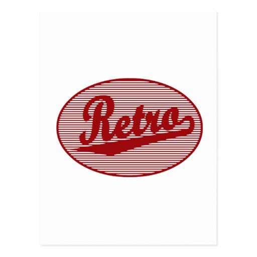 Retro script logo in red postcard