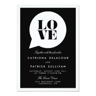 RETRO SCRIPT LOVE SPEECH BUBBLE WEDDING INVITATION