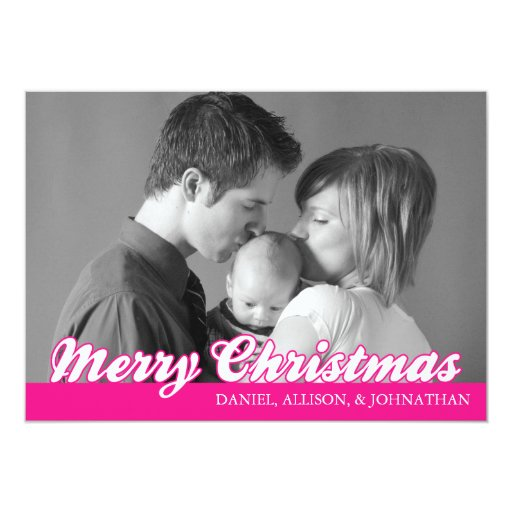 Retro Script Merry Christmas Card (Hot Pink)