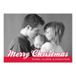 Retro Script Merry Christmas Card (Red)
