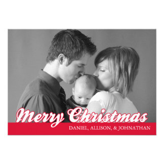 Retro Script Merry Christmas Card Red Invites