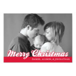 "Retro Script Merry Christmas Card (Red) 5"" X 7"" Invitation Card"