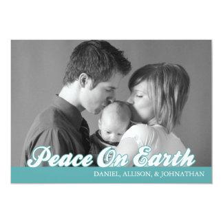 Retro Script Peace On Earth Christmas Card (Aqua)