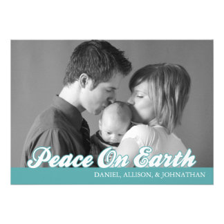 Retro Script Peace On Earth Christmas Card Aqua Custom Announcements
