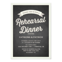 Retro Script Rustic Rehearsal Dinner Invitation