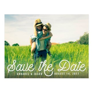 Retro Script White | Photo Save the Date Postcard