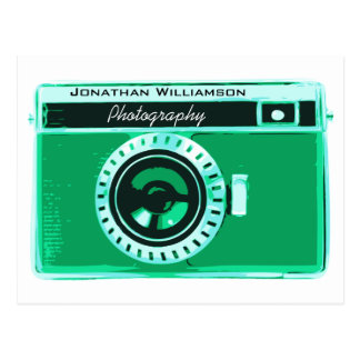 Retro Seafoam Green Camera Photography Business Postcard