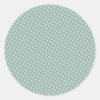 Retro Seafoam Green Sun Dots Pattern Classic Round Sticker