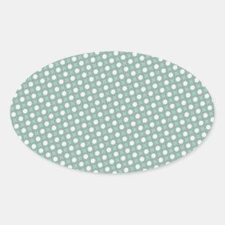 Retro Seafoam Green Sun Dots Pattern Oval Sticker